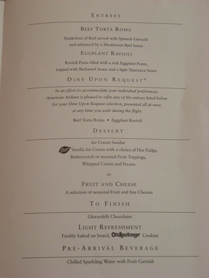 American Airlines Menu - Dinner Entrees & Desserts