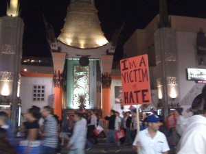 March infront of Graumans Theatre on Hollywood Blvd.