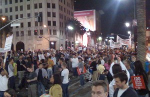 Thousands of people at Highland & Hollywood